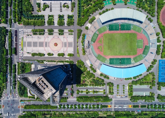 An aerial view of a museum and football stadium Free Photo