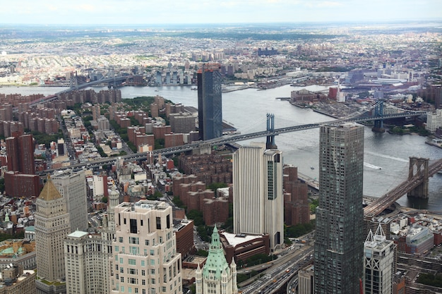 Aerial view of new york city from one world trade building Premium Photo