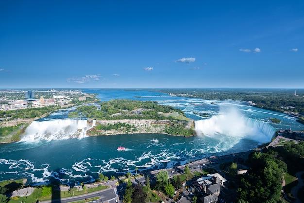 Aerial view of niagara waterfall. Premium Photo