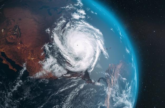 地球上からのハリケーンローラの航空写真。 3d; 3dイラストレーション Premium写真