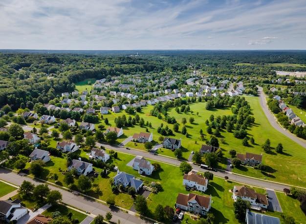 아름 다운 마을 도시 풍경 뉴저지에서 주거 숙소의 항공보기 프리미엄 사진