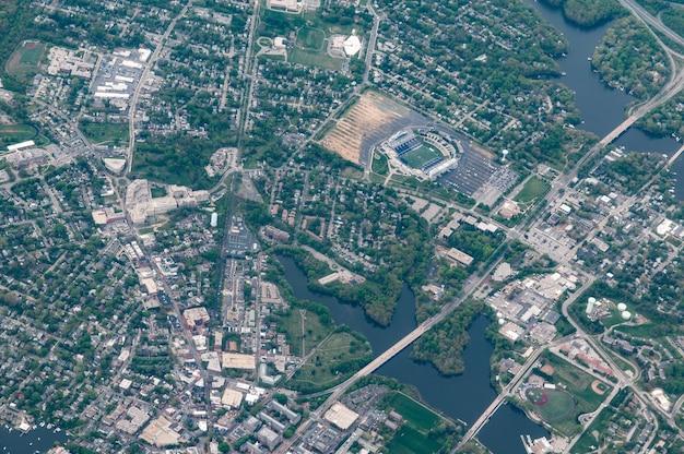 米国海軍兵学校、アナポリス、メリーランド州の航空写真 無料写真