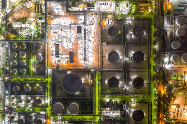 Aerial view of oil and gas industry - refinery at twilight Premium Photo