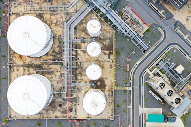 Aerial view of oil refinery plant and chemical plant form in industry zone Premium Photo