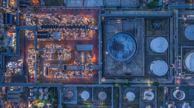 Aerial view oil refinery, refinery plant, refinery factory at night. Premium Photo