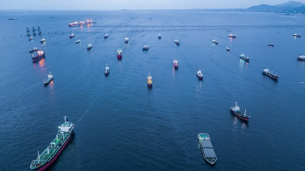 Aerial view oil tanker and gas tanker loading in port in sea at
