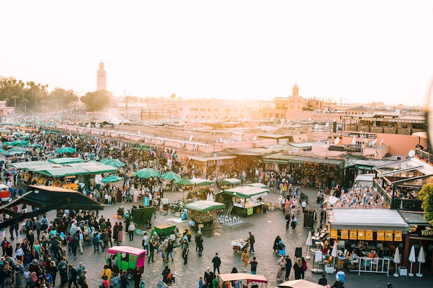 Aerial view of oriental market Free Photo