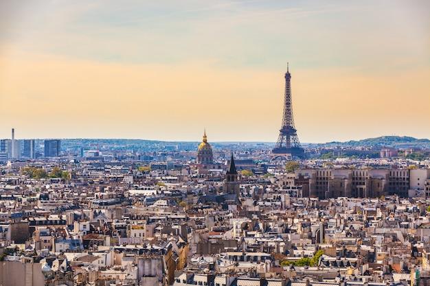 Aerial view of paris with eiffel tower Premium Photo