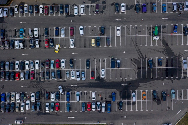 Aerial view of a parking lot Premium Photo