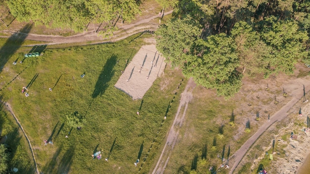 Aerial view of the people at a picnic in a summer park Premium Photo