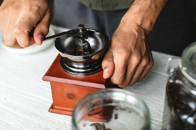 Aerial view of a person making drip coffee Free Photo