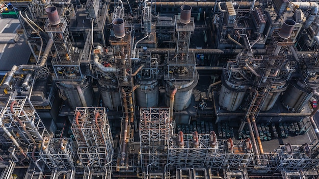 Aerial view petrochemical plant, oil refinery factory. Premium Photo