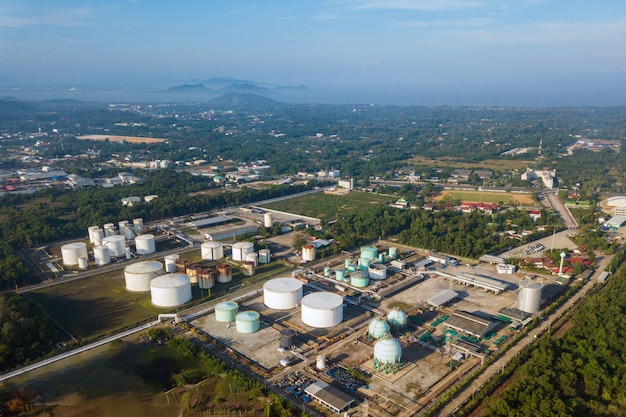Aerial view of petroleum terminal Premium Photo