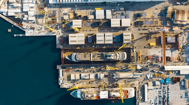 Aerial view of port for import and export and logistics, big port of ancona, italy Premium Photo