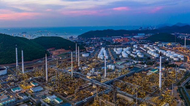 Aerial view refinery plant facory at twilight. Premium Photo