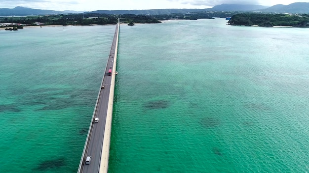 Aerial view on road across the sea and island Premium Photo
