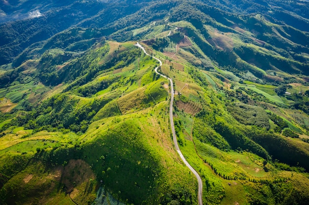 Aerial view road way on the green mountain peak in the rain season  morning time Premium Photo