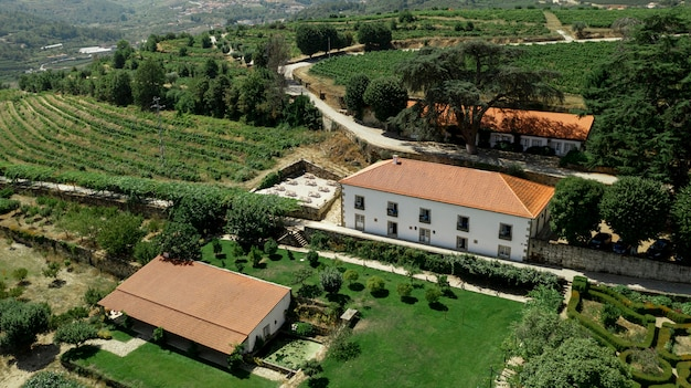 Aerial view to rural landscape and big mansion Free Photo