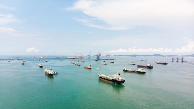 Aerial view of sea freight Premium Photo