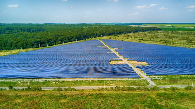 Aerial view of solar panels. photovoltaic power supply systems Premium Photo