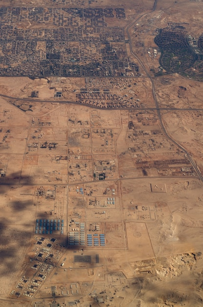 Aerial view of some egyptian cities and hot deserted lands. Premium Photo