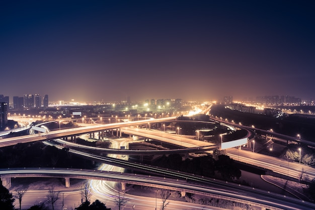 Aerial view of suzhou overpass at night Free Photo