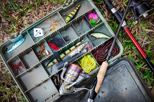Aerial view of tackle box on the ground Free Photo