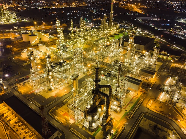 Aerial view thailand oil refinery production at industrial estate thailand. Premium Photo