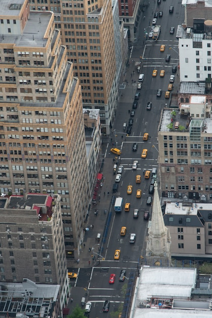 Aerial View Of Traffic In A Street Manhattan New York City New