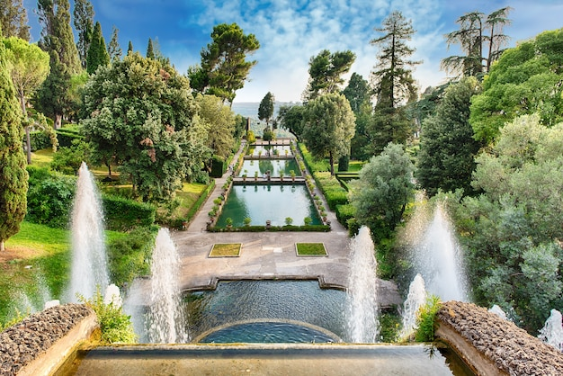 Aerial view of villa d'este, tivoli, italy Premium Photo
