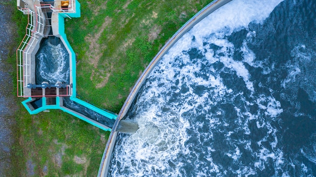Aerial view water treatment tank with waste water. Premium Photo