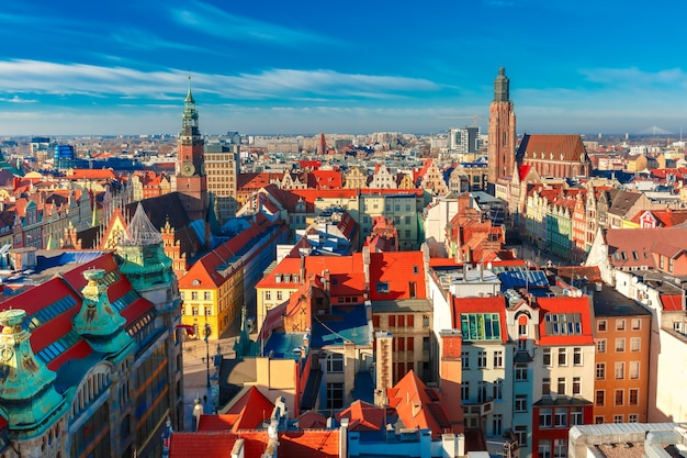 Aerial view of wroclaw in the morning Premium Photo
