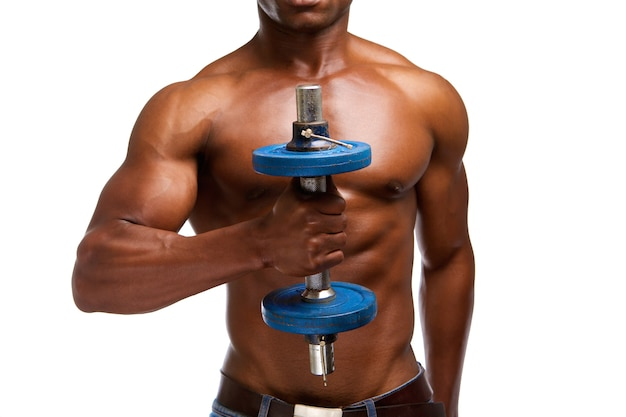 African american athlete lifting gym weight Premium Photo