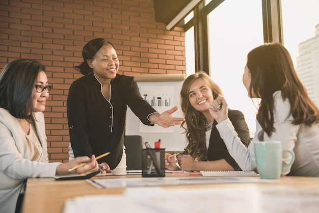 African american businesswoman leader asking for opinion in the meeting Premium Photo