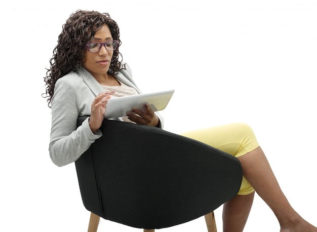 African american businesswoman working with tablet Premium Photo