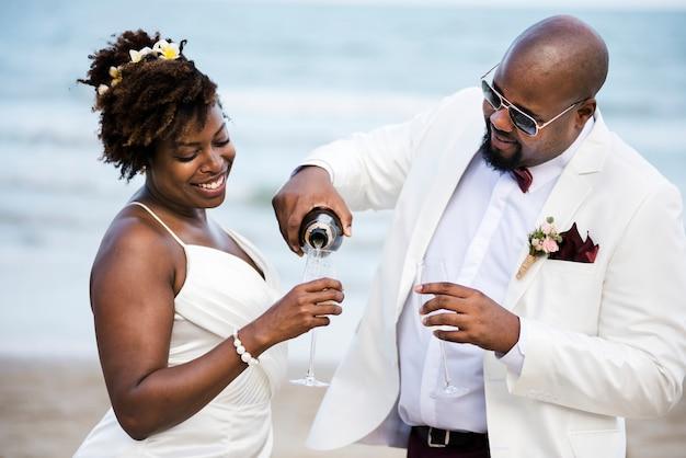 African american couple's wedding day Premium Photo