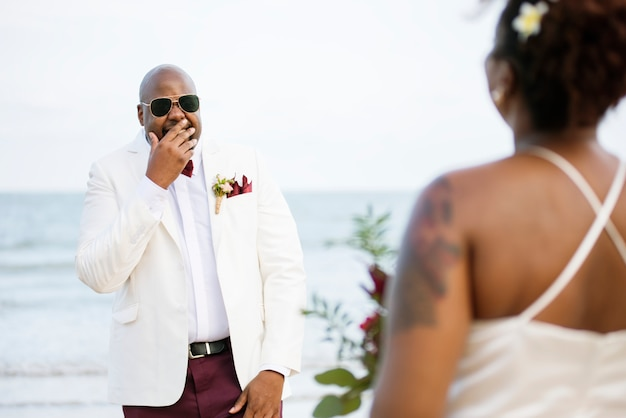 African american couple's wedding day Premium Photo