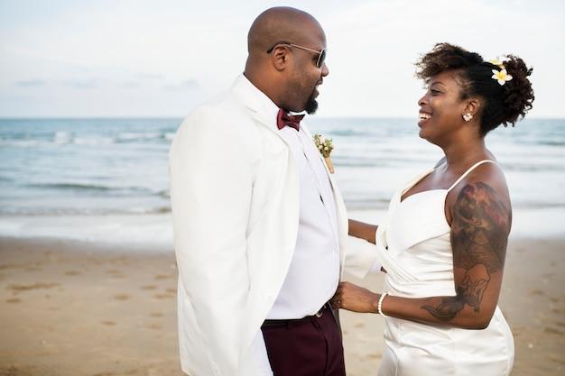 African american couple wedding day Premium Photo