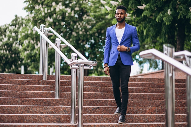 African american man in blue jacket Free Photo
