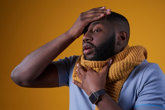 African american man has cold, is ill isolated. Premium Photo