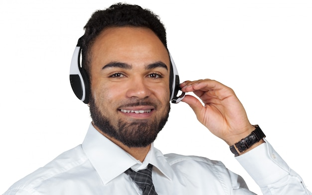 African american man in headsets isolated white Premium Photo