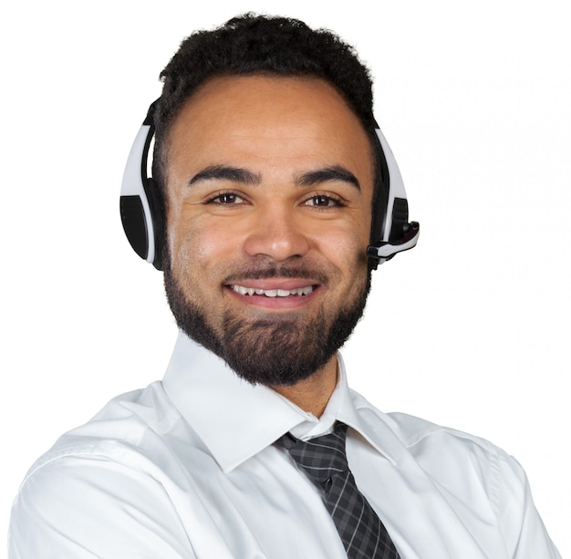 African american man in headsets isolated Premium Photo