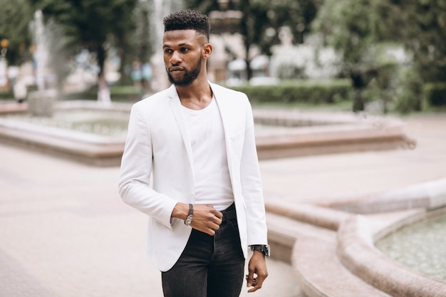 African american man in white jacket Free Photo