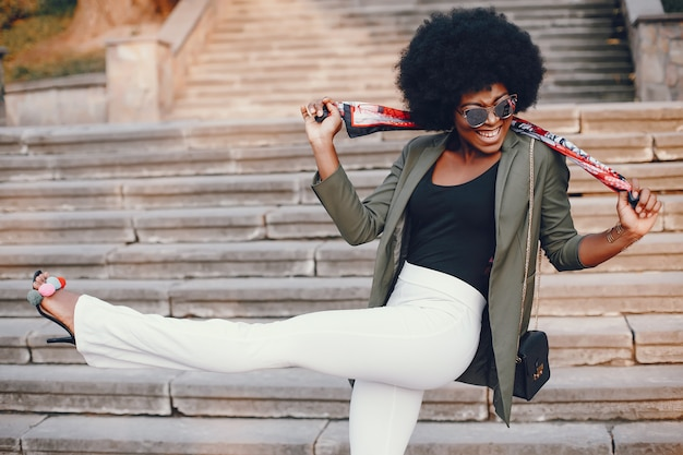 African girl in a summer city Free Photo