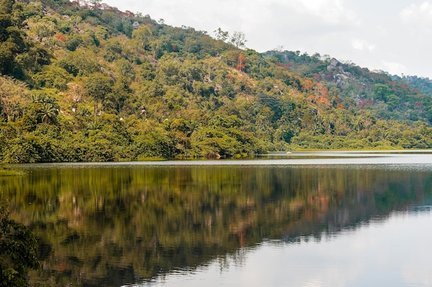African nature view with mountains and lake Free Photo