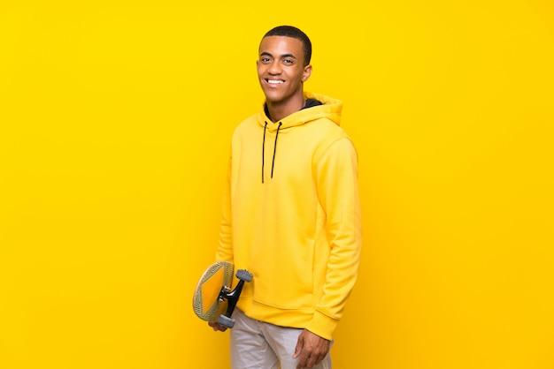 Afro american skater man Premium Photo