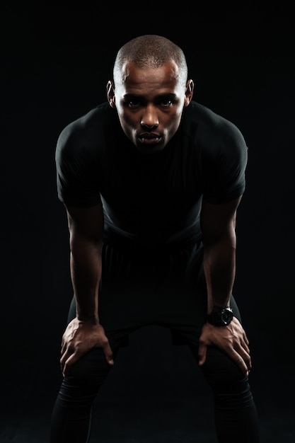 Afro american sports man resting after workout Free Photo