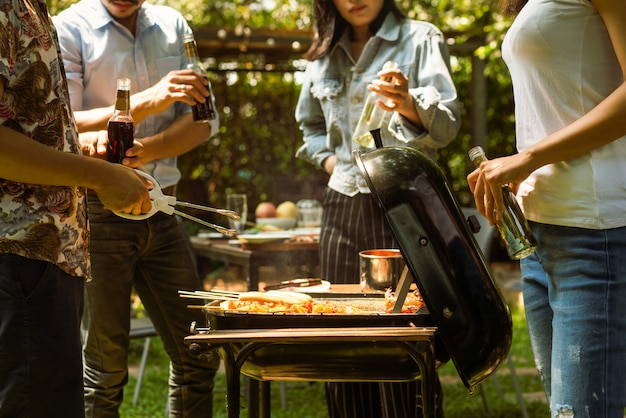 Afternoon party, barbecue and roast pork Premium Photo