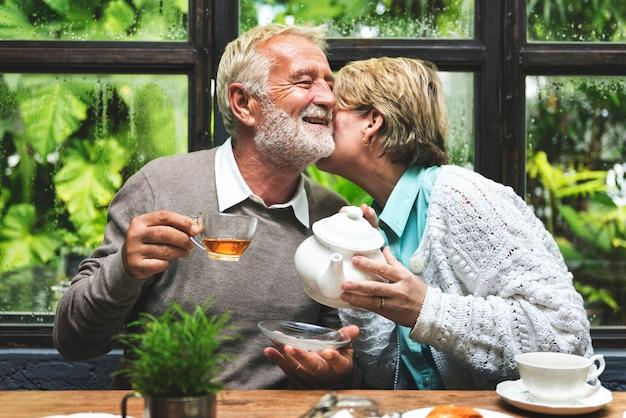 Afternoon tea leisure casual elderly older concept Premium Photo