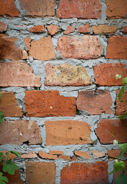 Aged red brick with concrete wall texture Free Photo